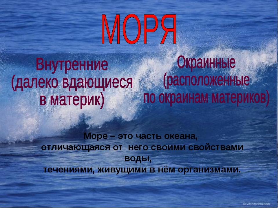 Море – это часть океана, отличающаяся от него своими свойствами воды, течения...