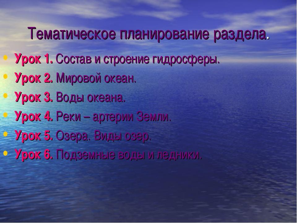 Тематическое планирование раздела. Урок 1. Состав и строение гидросферы. Урок...