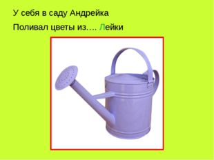 У себя в саду Андрейка Поливал цветы из…. Лейки