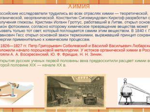 Химия Российские исследователи трудились во всех отраслях химии — теоретическ