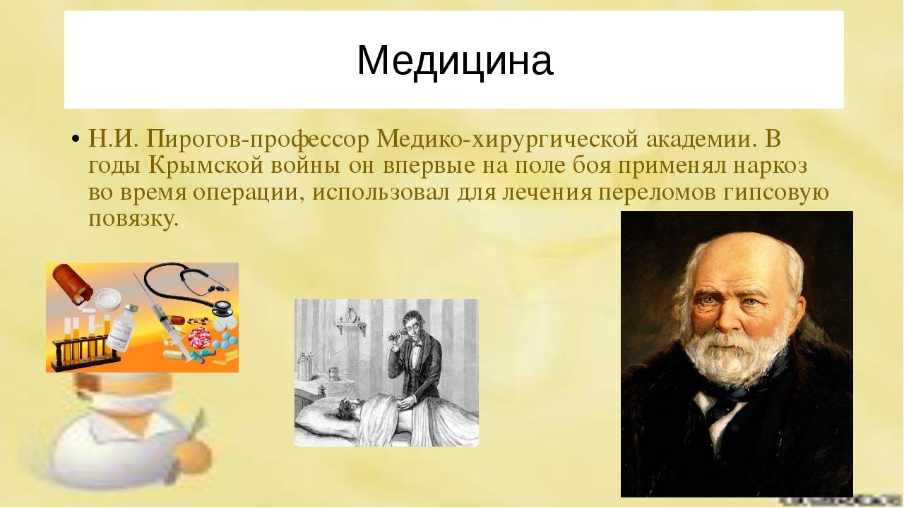 Медицина Н.И. Пирогов-профессор Медико-хирургической академии. В годы Крымско...