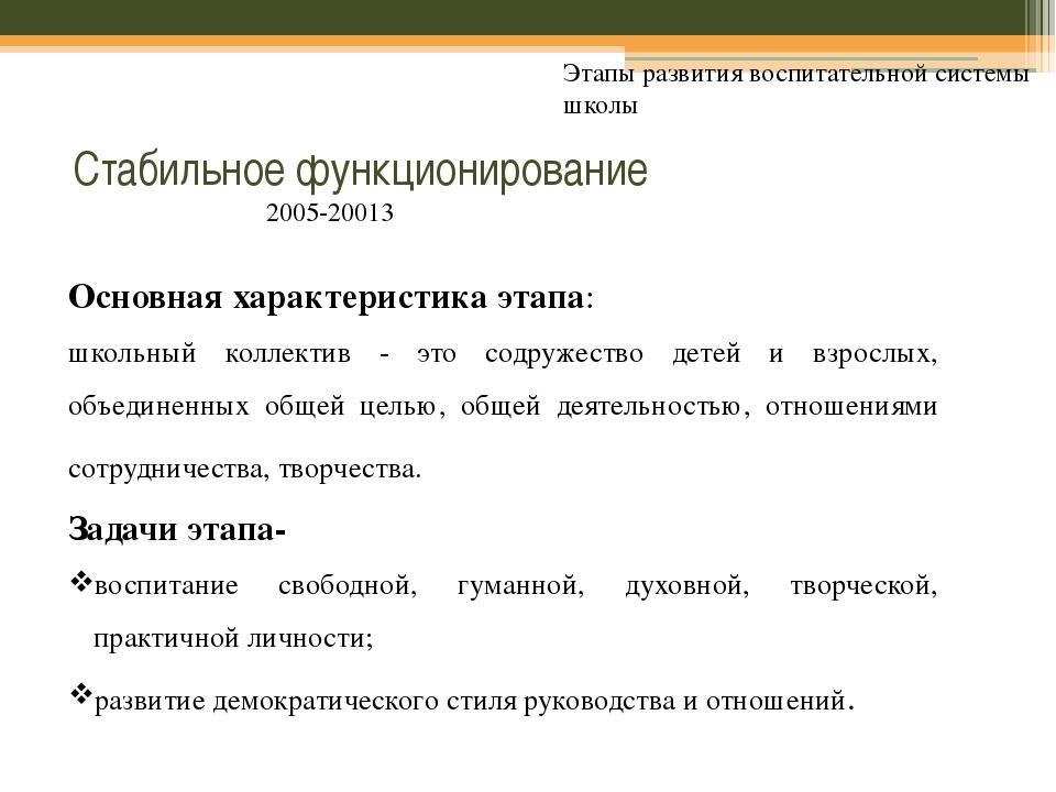 Стабильное функционирование Этапы развития воспитательной системы школы Осно...