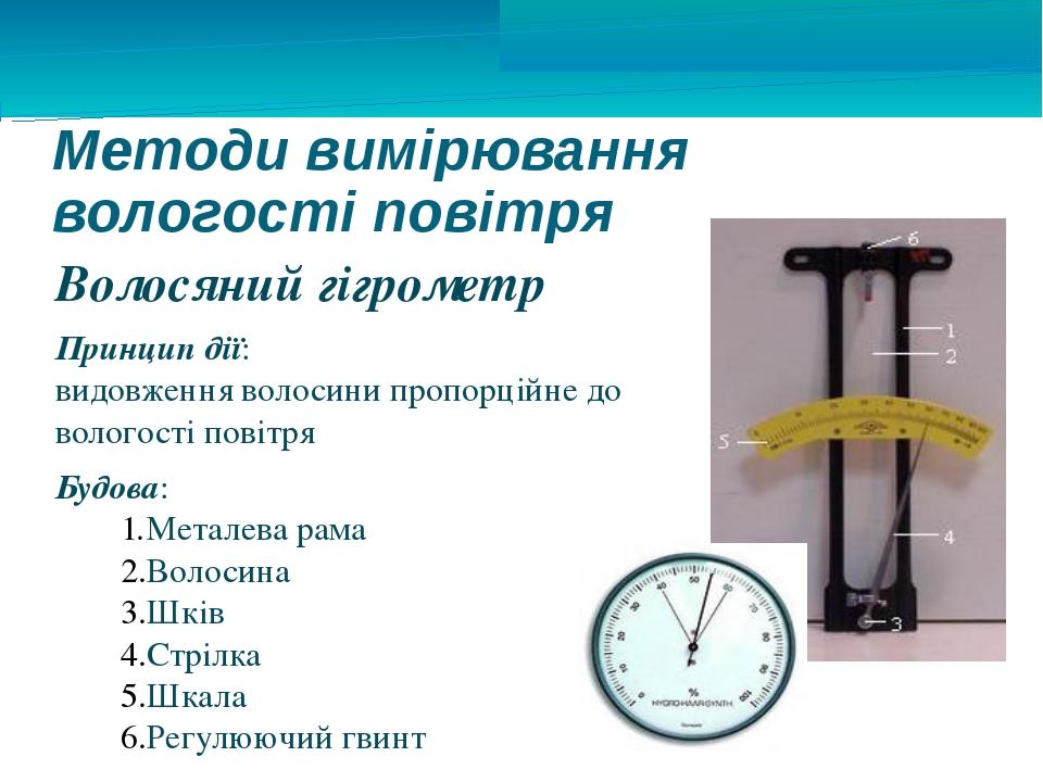 Методи вимірювання вологості повітря Волосяний гігрометр Принцип дії: видовже...