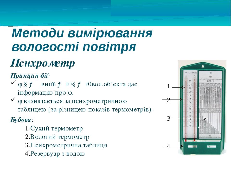 Методи вимірювання вологості повітря Психрометр Принцип дії: φ ↓ → υвип↑ → t0...