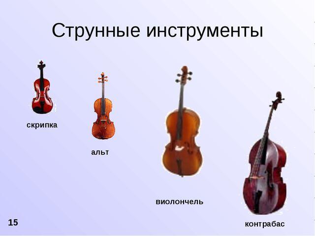 скрипка альт виолончель контрабас Струнные инструменты 15