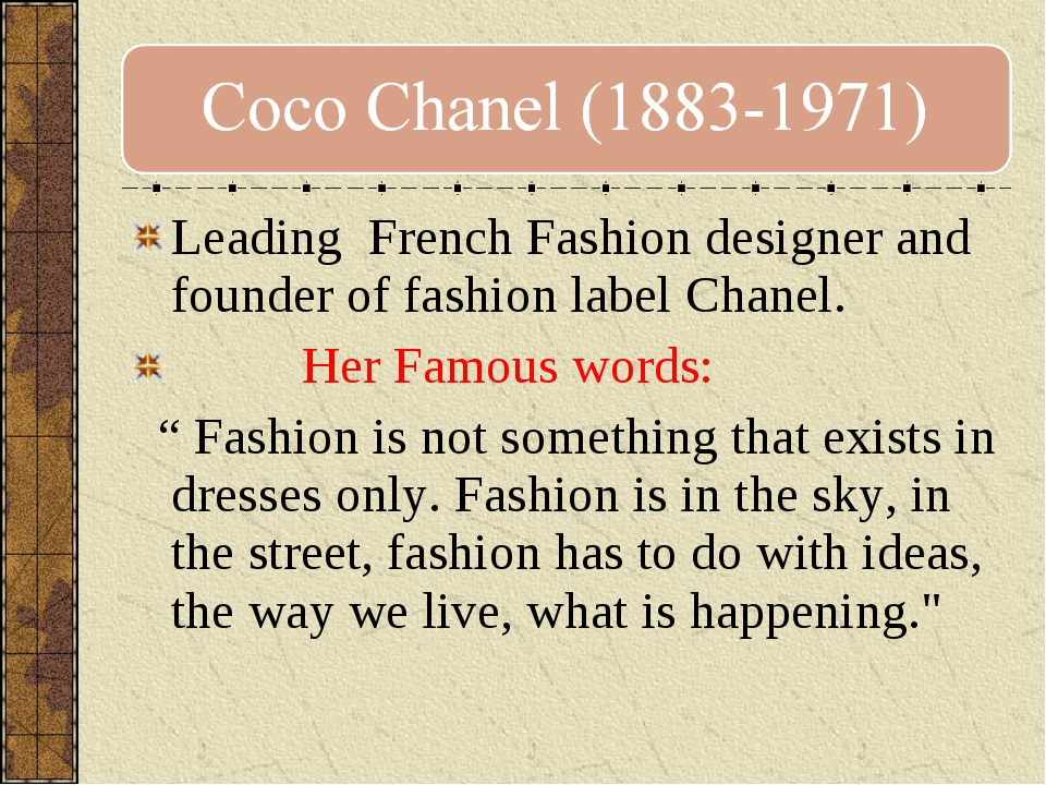 Leading French Fashion designer and founder of fashion label Chanel. Her Famo...