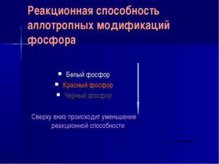 Реакционная способность аллотропных модификаций фосфора Белый фосфор Красный