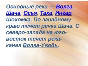Основные реки—Волга,Шача,Осья,Таха,Ингар, Шохомка. По западному краю те