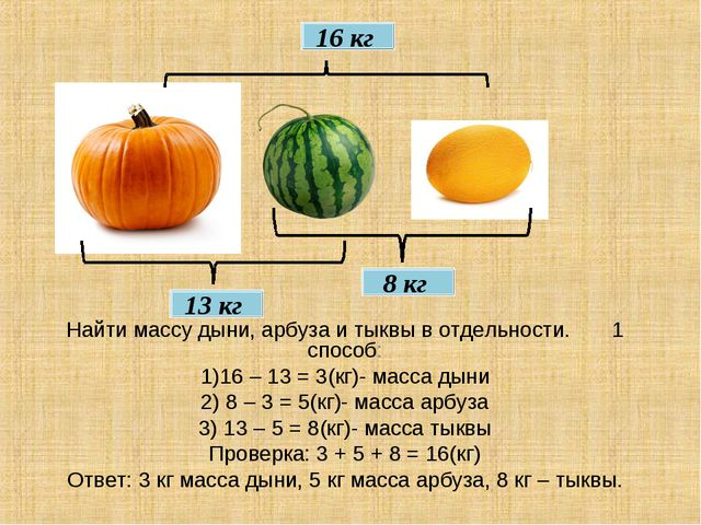 16 кг 8 кг 13 кг Найти массу дыни, арбуза и тыквы в отдельности. 1 способ: 1)...