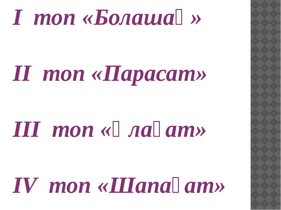 I топ «Болашақ» II топ «Парасат» III топ «Ұлағат» IV топ «Шапағат»