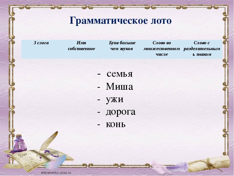 Грамматическое лото - семья - Миша - ужи - дорога - конь 3 слога Имя собствен...