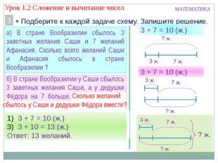 МАТЕМАТИКА 3  Подберите к каждой задаче схему. Запишите решение. а) В стран