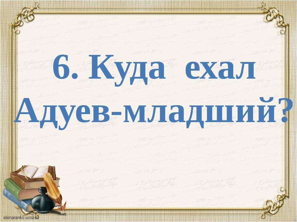 6. Куда ехал Адуев-младший?
