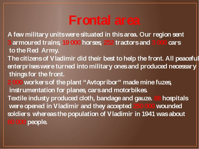 Frontal area A few military units were situated in this area. Our region sent...