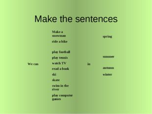 Make the sentences We can	Make a snowman	 in	 spring ride a bike	 play footba