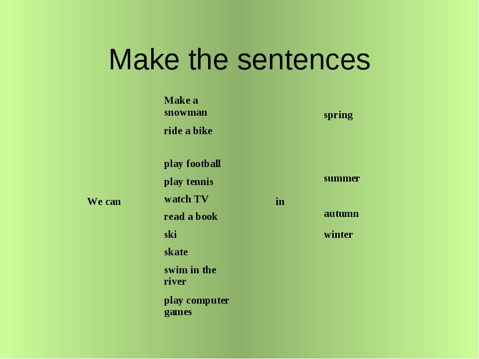 Make the sentences We can	Make a snowman	 in	 spring ride a bike	 play footba...