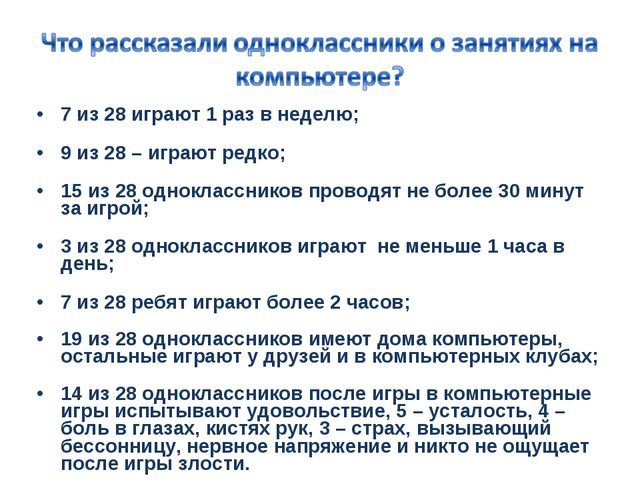7 из 28 играют 1 раз в неделю; 9 из 28 – играют редко; 15 из 28 однокласснико...