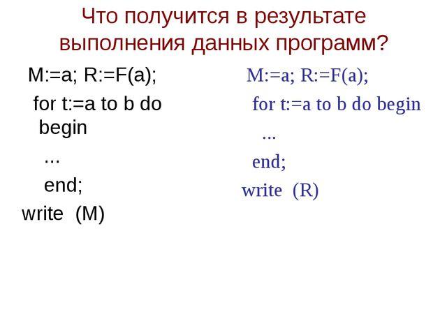 Что получится в результате выполнения данных программ? M:=a; R:=F(a); for t:=...