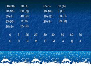50+20= 70-10= 39+1= 83-80= 20+5= 70 (А) 60 (Д) 40 (И) 3 (Л) 25 (И) 55-5= 16-1