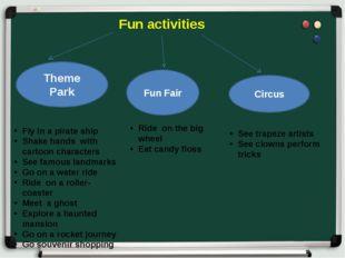 Fun activities Theme Park Fun Fair Circus Fly in a pirate ship Shake hands w