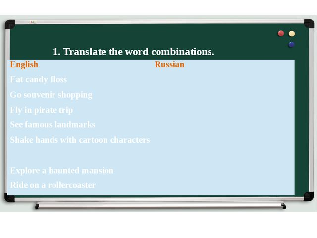 1. Translate the word combinations. English Russian Eat candy floss Go souven...