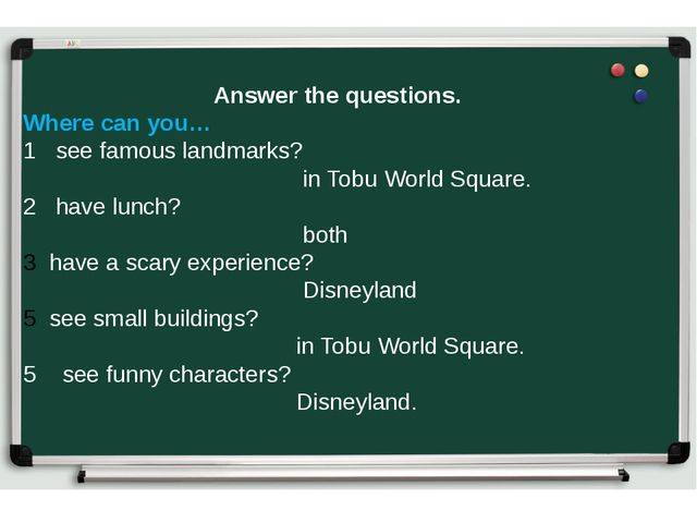Answer the questions. Where can you… 1 see famous landmarks? in Tobu World Sq...