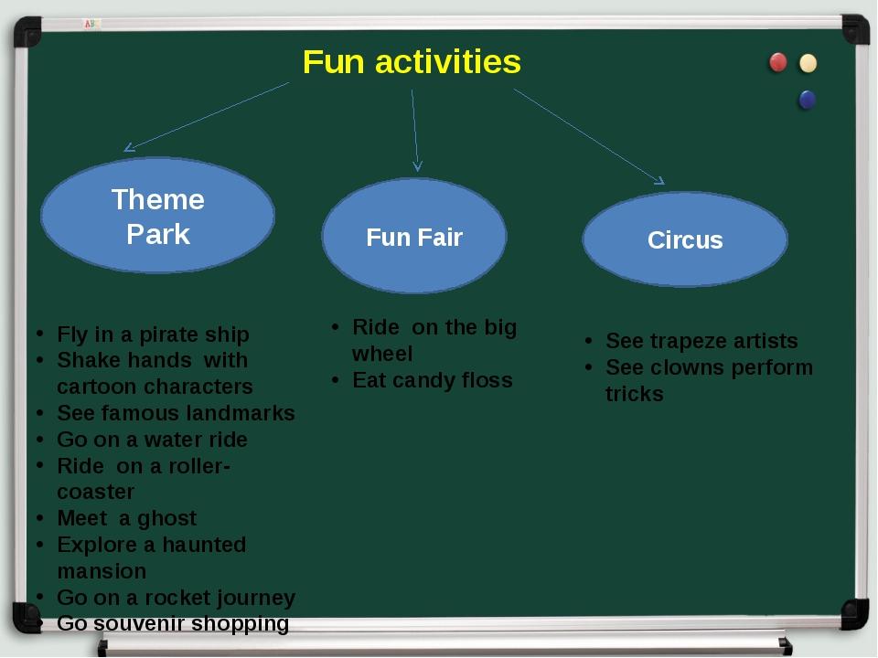 Fun activities Theme Park Fun Fair Circus Fly in a pirate ship Shake hands w...