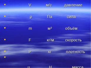 V м/с давление ρ Па сила m м³ объём F кг/м скорость Ρ кг плотность  υ Н