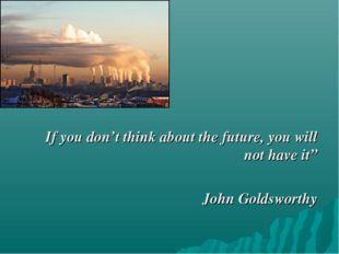 """If you don't think about the future, you will not have it"""" John Goldsworthy"""