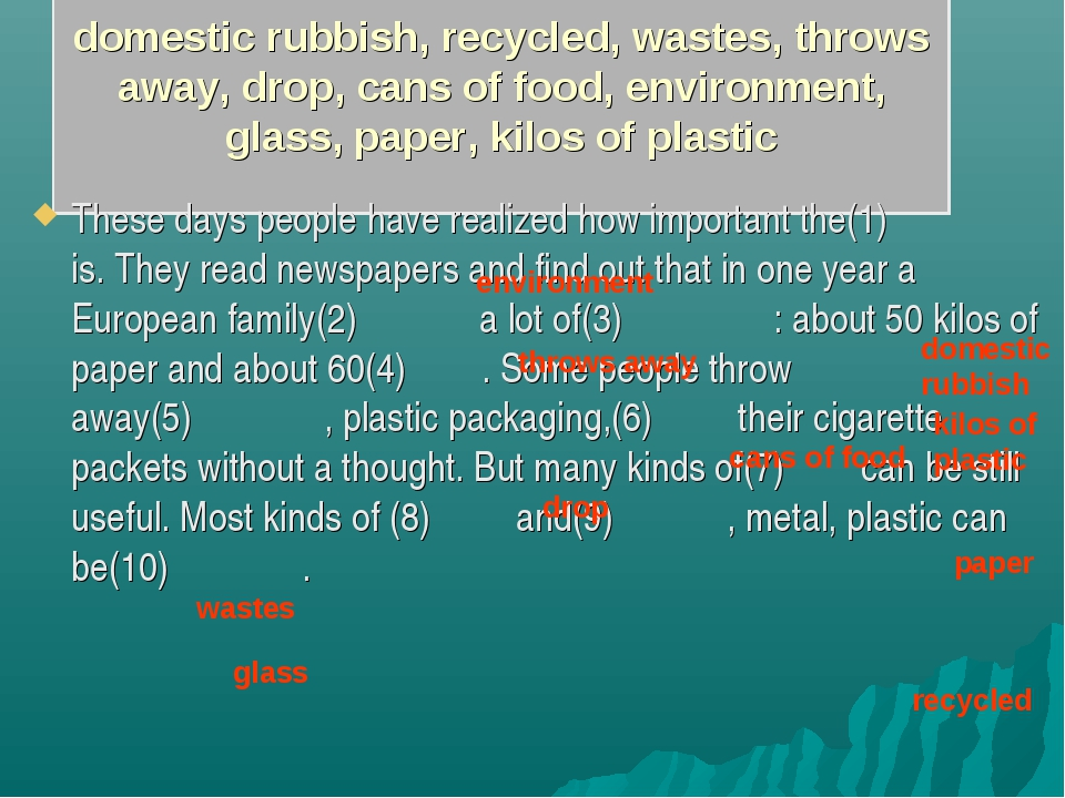 domestic rubbish, recycled, wastes, throws away, drop, cans of food, environ...
