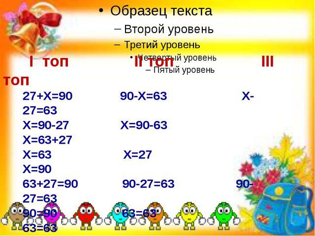 I топ II топ III топ 27+Х=90 90-Х=63 Х-27=63 Х=90-27 Х=90-63 Х=63+27 Х=63 Х=...