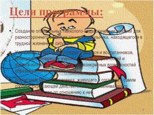 Цели программы: Создание оптимальных психолого-педагогических условий для раз