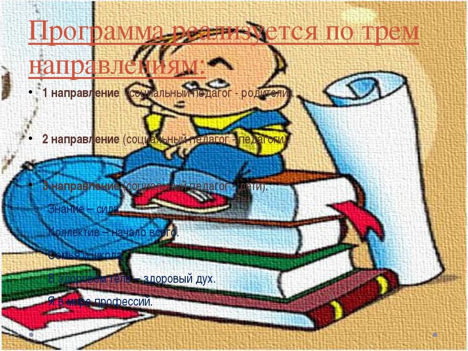 Программа реализуется по трем направлениям: 1 направление (социальный педагог...