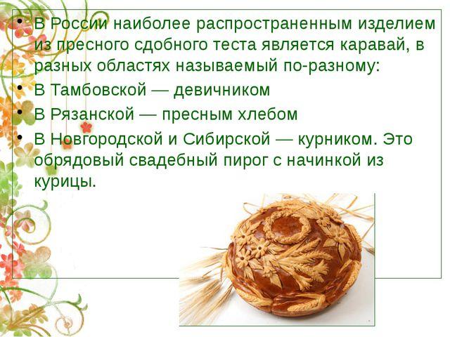 В России наиболее распространенным изделием из пресного сдобного теста являет...