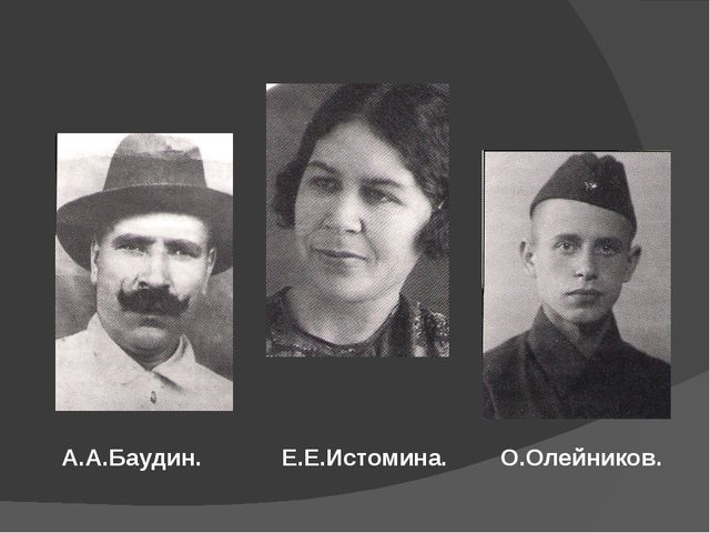 А.А.Баудин. Е.Е.Истомина. О.Олейников.