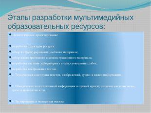 Этапы разработки мультимедийных образовательных ресурсов: Педагогическое прое