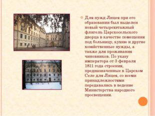 Для нужд Лицея при его образовании был выделен новый четырехэтажный флигель Ц