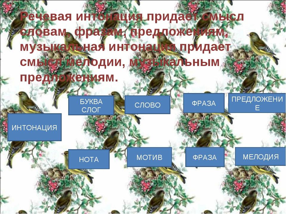 Речевая интонация придает смысл словам, фразам, предложениям, музыкальная инт...