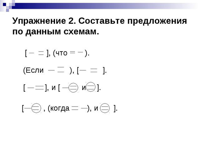 Упражнение 2. Составьте предложения по данным схемам.