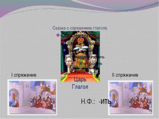 Сказка о спряжениях глагола Царь Глагол I спряжение II спряжение Н.Ф.: -ить