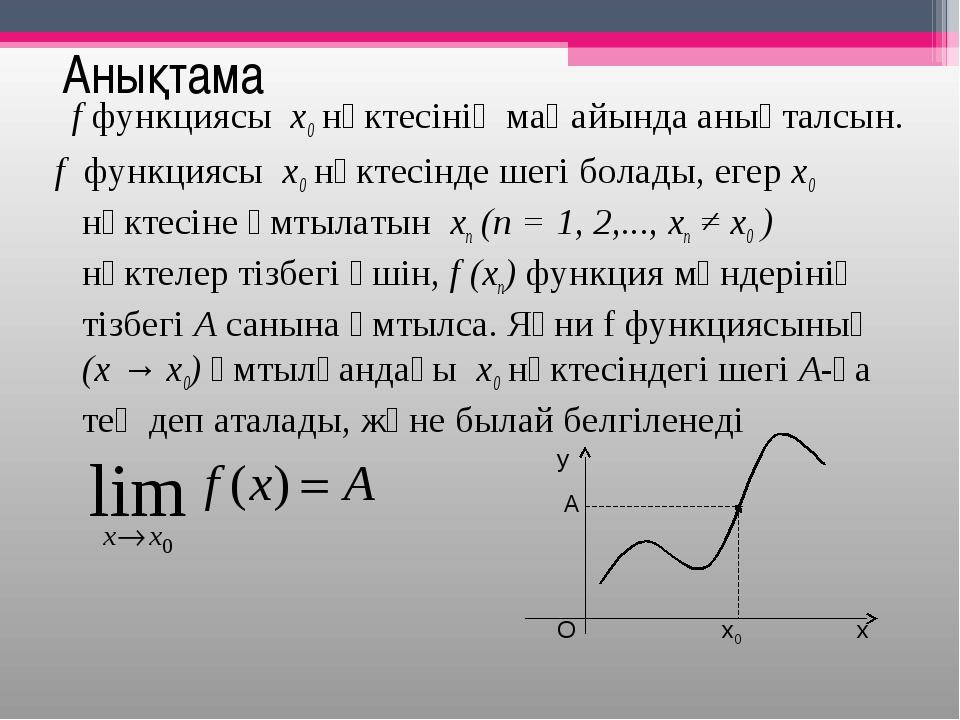 Анықтама f функциясы x0 нүктесінің маңайында анықталсын. f функциясы x0...
