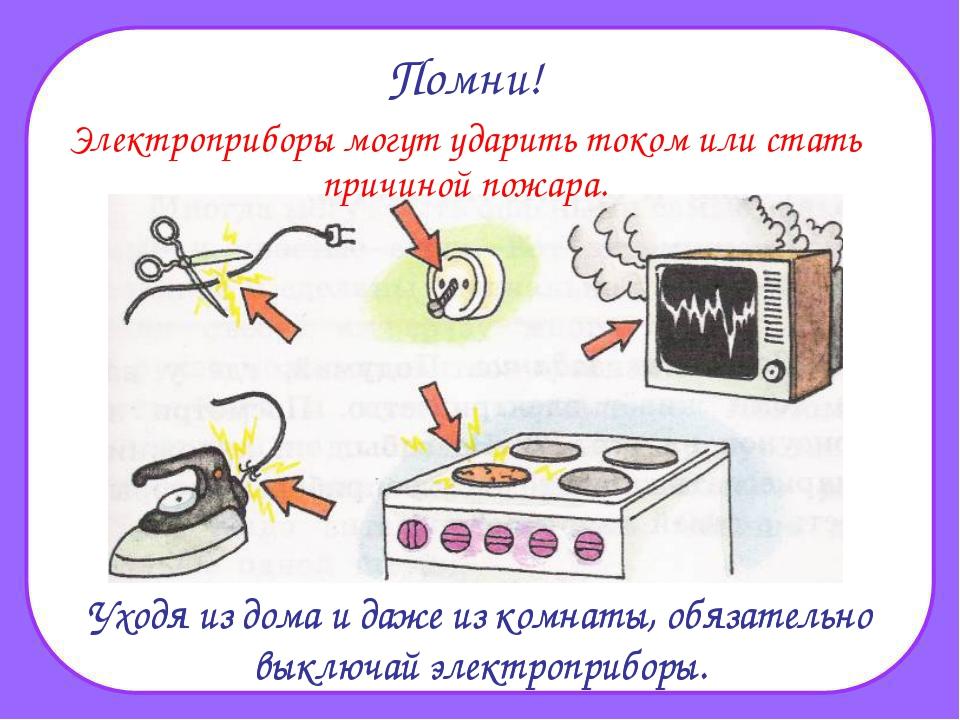 Помни! Электроприборы могут ударить током или стать причиной пожара. Уходя из...