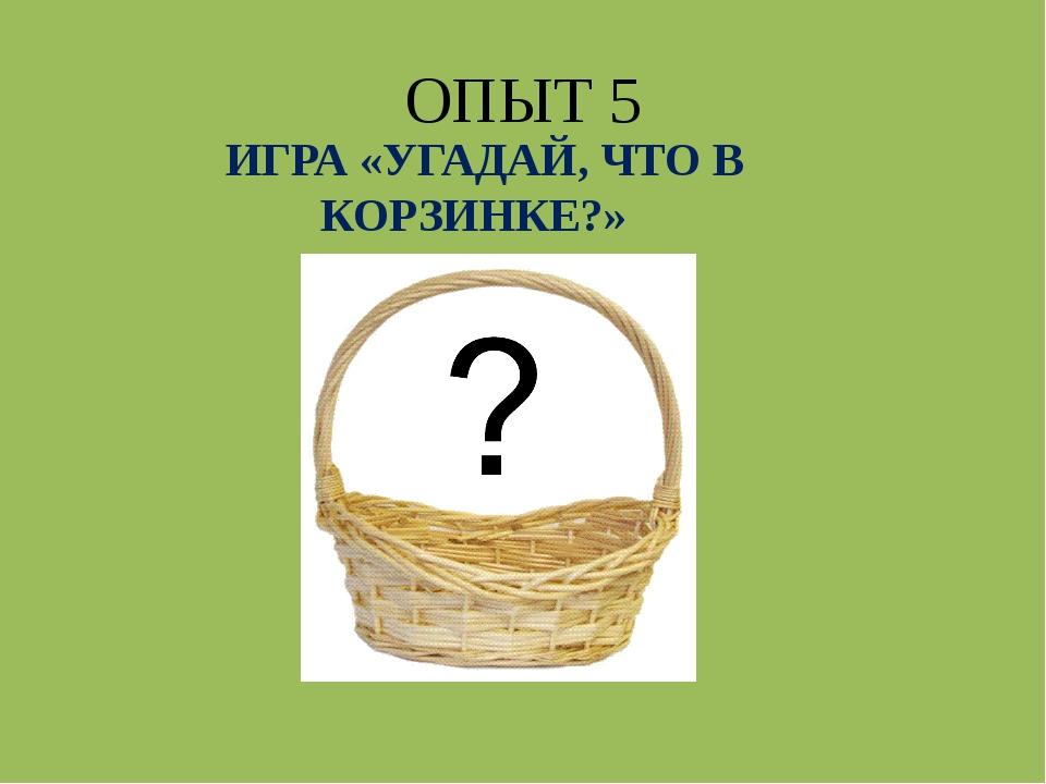 ОПЫТ 5 ИГРА «УГАДАЙ, ЧТО В КОРЗИНКЕ?»