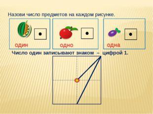 Назови число предметов на каждом рисунке. один одно одна Число один записыва