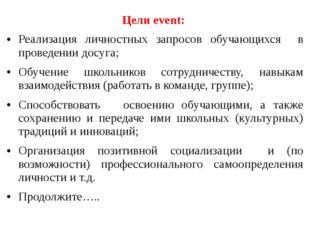 Цели event: Реализация личностных запросов обучающихся в проведении досуга; О
