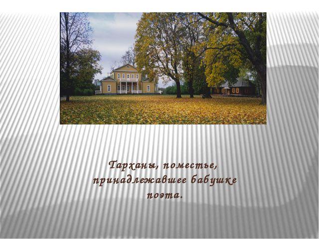 Тарханы, поместье, принадлежавшее бабушке поэта.