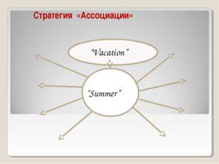 """Стратегия «Ассоциации» """"Vacation"""" summer """"Summer"""""""