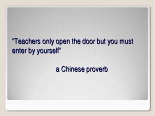"""""""Teachers only open the door but you must enter by yourself"""" a Chinese proverb"""