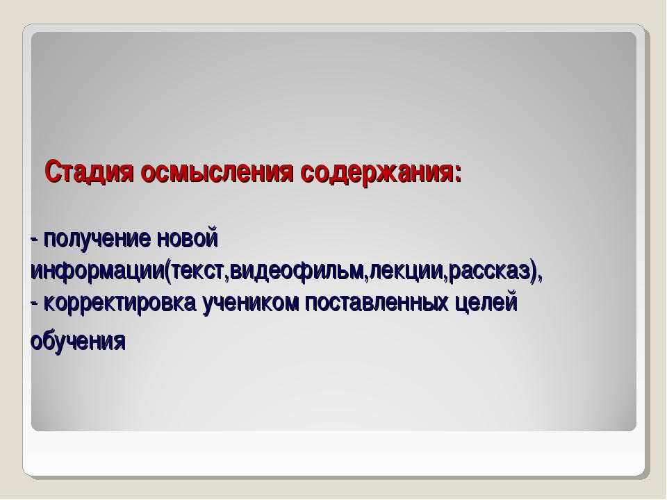 Стадия осмысления содержания: - получение новой информации(текст,видеофильм,...