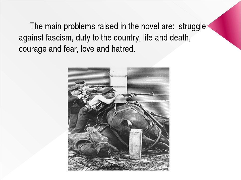 The main problems raised in the novel are: struggle against fascism, duty to...